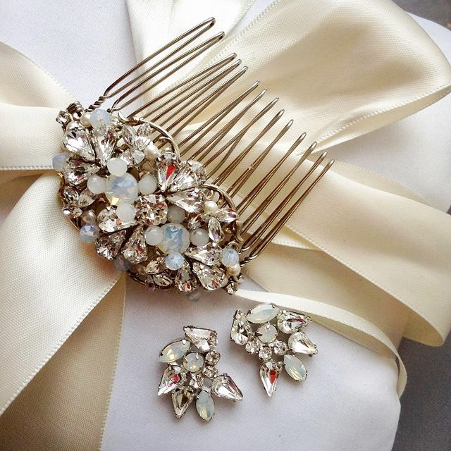 Swarovski Crystal and Opal Bridal Comb and Earrings