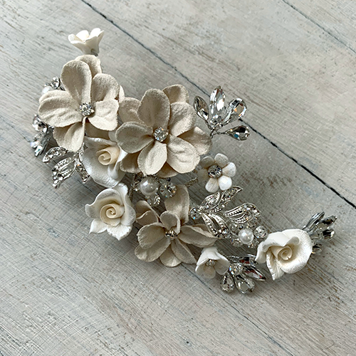 Flower and Leaf Clip This stunning Flower and Leaf clip made from Fabric and Porcelain Flowers
