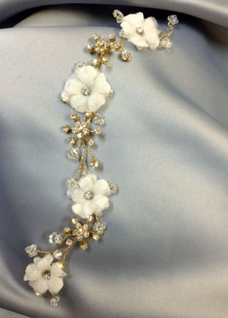 Bridal Gold Wire Hair Vine with Ivory Flowers and Swarovski Crystals