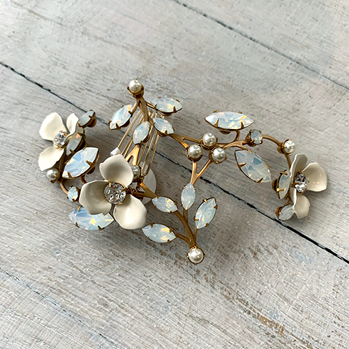 Uniquely handmade gold comb with opal stones and hand painted petals