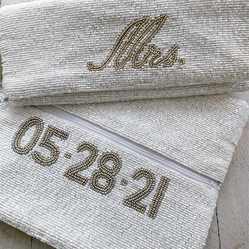 Beaded fold over clutch purse with inside zipper